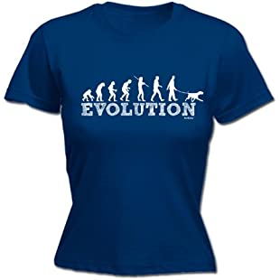 LADIES EVOLUTION DOG WALKER (XXL - NAVY) NEW PREMIUM FITTED T-SHIRT - slogan funny clothing t shirt joke novelty vintage retro top ladies women's girl women tshirt tees tee t-shirts shirts fashion urban cool geek dog food dogfood lead bowl pet collar puppy day mum mummy mother sister birthday ideas gifts Christmas presents gifts S M L XL 2XL - by Fonfella