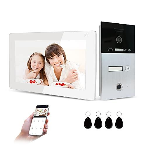 JeaTone Tuya Smart - Videoportero automático (7 pulgadas, IP, Wi-Fi, para viviendas, monitor de villa, unidad exterior con huellas dactilares/tarjeta RFIC)