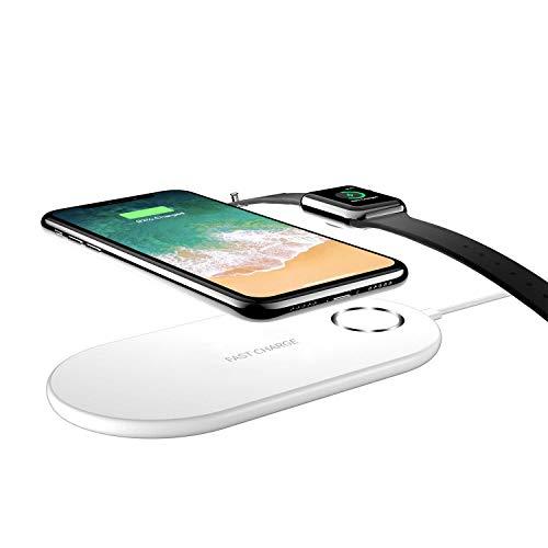 Auckly Cargador Inalámbrico Rápido 2 en 1 para iPhone X/Apple Watch,Soporte de Carga Inalámbrico Pad para iWatch/iPhone 8/8 Plus y Samsung Galaxy Note8/Note5/S9/S9/S8/S8 Plus/S7/S7 Edge