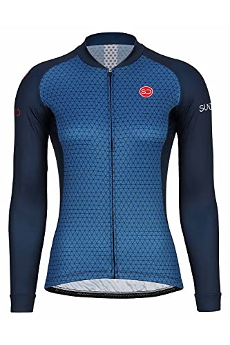SUNDRIED Damen Langarm Radfahren Jersey Rennrad Radfahren Top Mountain Bike Shirt Radfahren Kit (Blau, S)