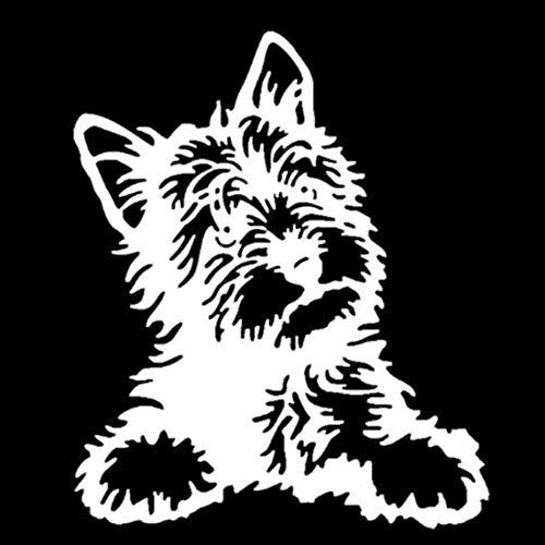 LJMING Yorkshire Chien Mignon de décalque de Vinyle étanche Autocollants de Voiture Styling Décoration Accessoires Noir/Argent 2pcs,White-12.7 * 15.2CM
