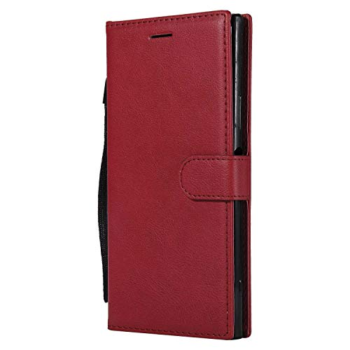 DENDICO Coque Sony Xperia XA1 Ultra, PU en Cuir Coque Portefeuille Étui Housse, Design Classique TPU Coque pour Sony Xperia XA1 Ultra - Rouge