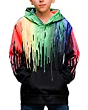 Teen Boys Girls Hoodies Casual Cool Hooded Sweatshirts Tops 3D Print Black Paint Tie Dye Melting Color Graffiti Drip Toddler Kids Pullover with Pockets