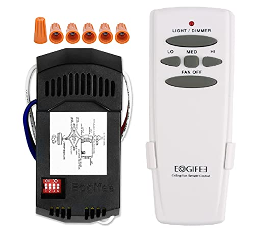 Eogifee Universal Ceiling Fan Remote Control and Receiver Kit with 3 Speed and Light Dimmer Control Replacement of Hampton Bay Hunter Harbor Breeze CHQ7078T UC7078T HD5 Fan-HD RR7079T Kits