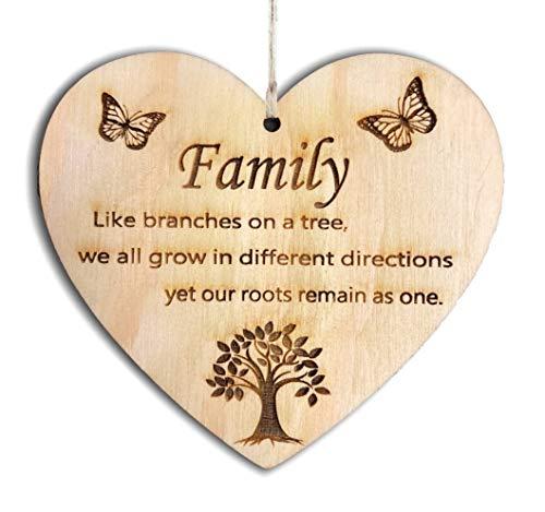 Pet-Jos Family Herz Schild Dekoschild Wooden Heart Plaque Herzschild Holzherz Holzschild 10 x 10 cm Family Roots Geschenk für die Familie Spruch Geschenk Holz Geschenk EIN Geschenk für die Familie