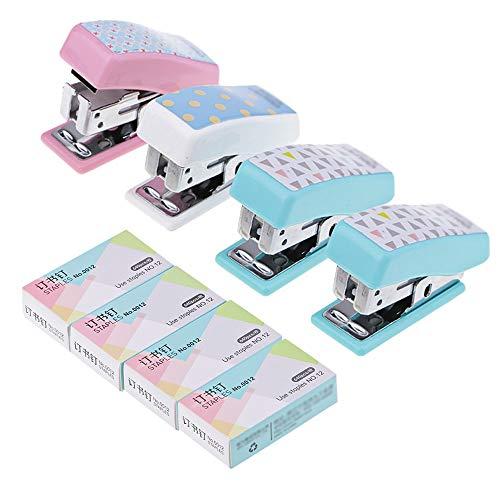 4Pcs Mini Grapadora de Escritorio y Engrapadora de Mano, AUHOTA Grapado y Grapadora de Oficina Sobremesa Regalo para Niños Estudiantes, Incluye 640 × 4 Grapas (Colores Surtidos)