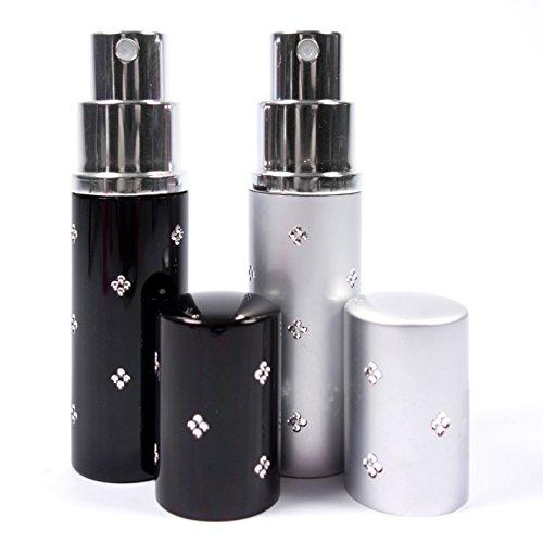 Reise Parfüm-Zerstäuber Flacon leicht nachfüllbar und perfekt für unterwegs/Reise Leere Sprühflasche aus Aluminium 10ml Parfum-Zerstäuber Set in 2 Farben schwarz Silber