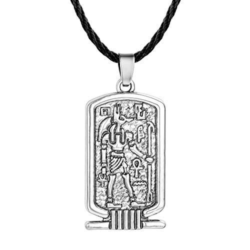 CLEARNICE Antiguo Egipto Hombres Ankh Cruz De La Vida Anubis Collar Amuleto Religioso Colgante Vintage Bronce Cuerda Cadena Joyas Longitud 45Cm