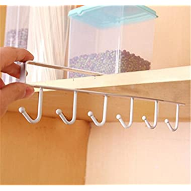 UNKE 6 Hooks Cup Holder Hang Kitchen Cabinet Under Shelf Storage Rack Organiser Hook (White)