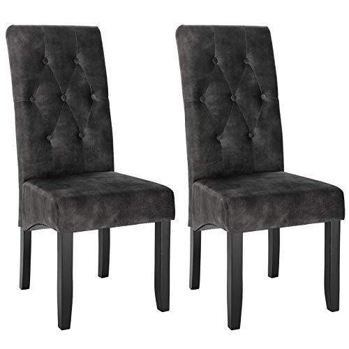 WOLTU Esszimmerstühle BH294dgr-2 2er Set Küchenstuhl Lehnstuhl Polsterstuhl mit hoher Rückenlehne, Beine aus Massivholz, gepolsterte Sitzfläche aus Samt, Dunkelgrau
