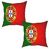 Paquete de 2 Fundas de Cojín Fundas de Almohada,Bandera de Portugal,cuadradas Cojín Liso Decoración para el hogar Decoraciones para sofá Sofá Cama Silla (45x45cm) x2