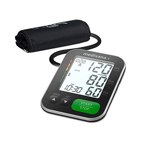 Medisana BU 570 connect Oberarmblutdruckmessgerät, Arrhythmie-Anzeige, Bluetooth, WHO-Ampel-Farbskala für präzise Blutdruckmessung und Pulsmessung mit Speicherfunktion während des Aufpumpens