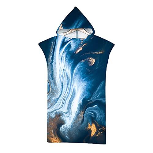 LYEAA Poncho de tela de microfibra, toalla cambiadora de surf, bata de playa para adultos de secado rápido con capucha, bata de baño para surf, playa, natación, triatlón (azul oscuro)