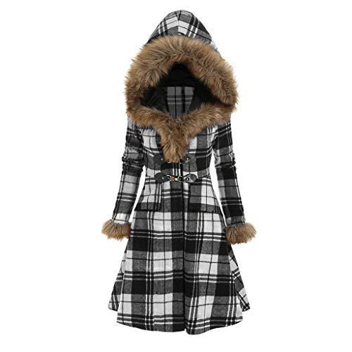 Women Buffalo Lattice Coat Vintage Hooded Faux Fur Dress Coats Slim Swing Long Sleeve Plaid Print Warm Winter Fall Jacket Outerwear Overcoat White, M