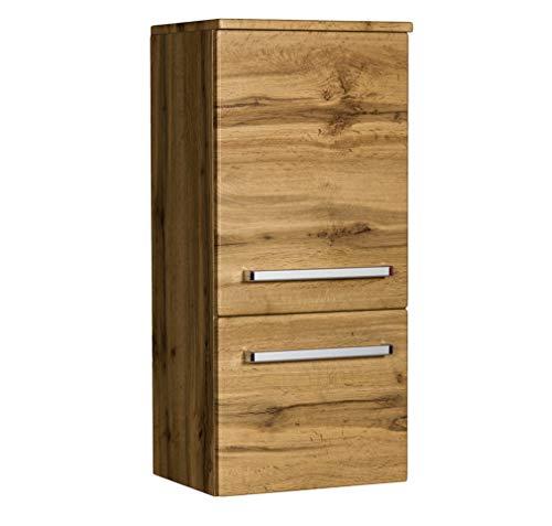Quentis Badschrank Midi, wandhängend, eine Tür und eine Schublade, Eiche Natur, Lieferung vormontiert