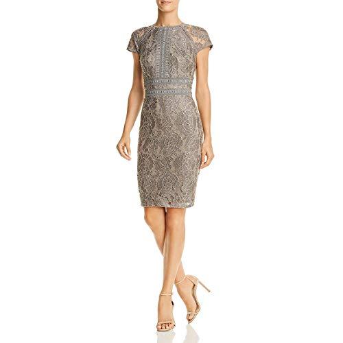 Tadashi Shoji Women's c/s lace Dress, Smoke Pearl, 4