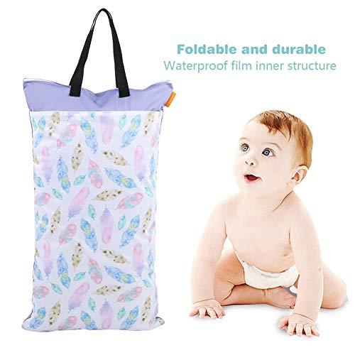 hong Bolsa de Tela para pañales, con diseño de Doble Cremallera Bolsa de Almacenamiento de pañales Impermeable para bebés, para Senderismo Almacenamiento Diario para(EF203)