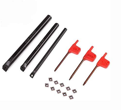 SANON Utensili per Tornio Sclcr 3 Pezzi Supporto per Barra di Tornitura Interna Noioso per Tornio + Inserto 10 Pezzi Ccmt0602 + Chiave per 3 Pezzi
