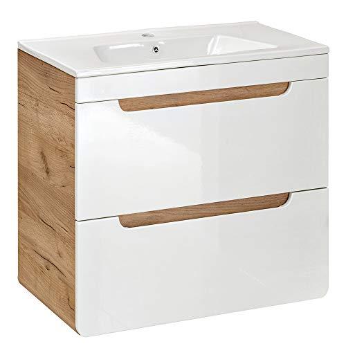 Lomadox Badezimmer Waschtisch Badmöbel Set mit 61cm Keramik-Waschbecken, Unterschrank Hochglanz weiß & Wotaneiche, B/H/T 61/59/46cm
