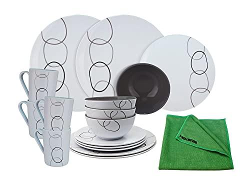 HEKERS Vajilla 100% melamina Loops Blanco – Juego de 16 piezas para 4 personas / 1 x paño de microfibra verde Hekers Outdoor Picnic Camping apto para lavavajillas