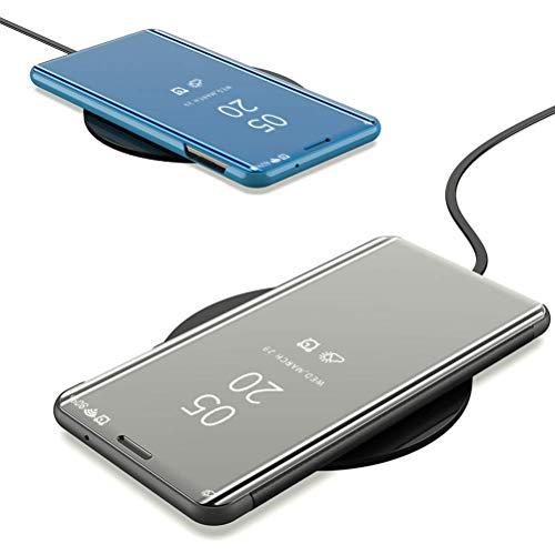 MRSTER Honor Play Hülle Clear View Standing Cover, Spiegel Handyhülle Schutzhülle Flip Case Schutz Tasche mit Standfunktion 360 Grad hülle für das Huawei Honor Play. Flip Mirror: Blue - 4