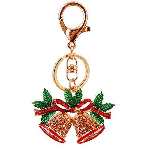 ZFF Llavero de Navidad Bell - la Cadena del Bolso Encantador Pendiente de Las Mujeres del Rhinestone Anillo Llave del Bolso del Regalo de la joyería de Moda Colgante del Metal de Navidad
