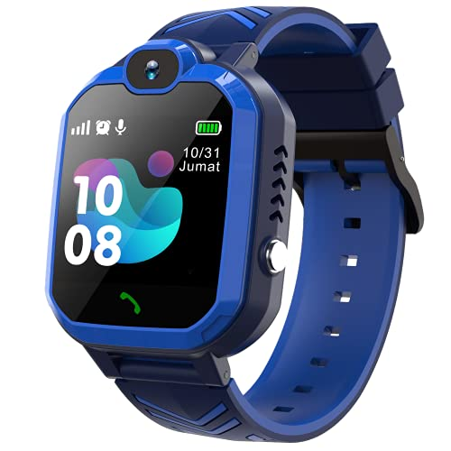 Smart Watch for Kids - Kids Smart Watch Boys with Call | 8 Games | SOS | Camera | Music Player | Alarm Clock | Calculator | Album & Video | Recording | for 4-12 Years Kids Birthday Gifts (Blue)