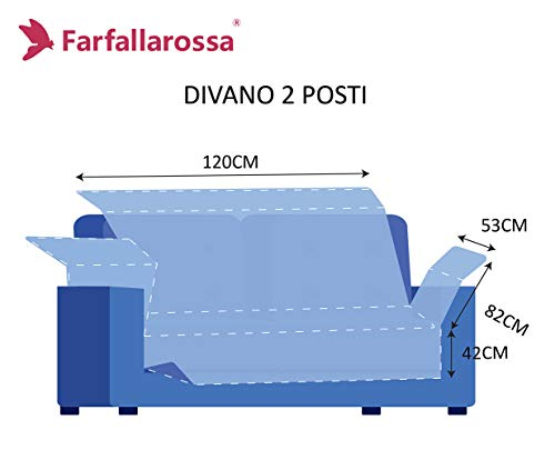 Salvadivano Trapuntato 2 Posti 120 CM, Fodere Copridivano Reversibile, Imbottitura Doubleface, Antiscivolo, Bordo & Arancione