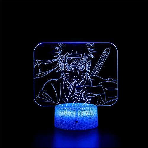 3D ilusión noche luz 3D lámpara de ilusión óptica 3D Naruto F lámpara de escritorio de mesa con USB remoto decorativo para niños niñas dormitorio regalos de cumpleaños