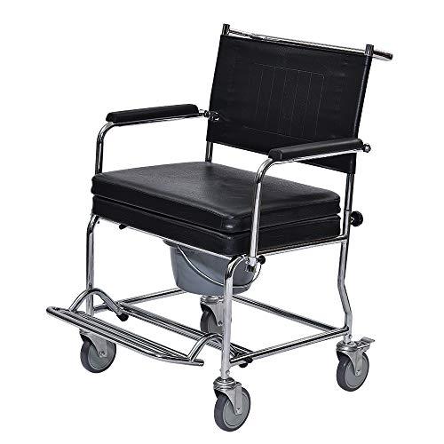 CARELINE XXL-Toilettenrollstuhl, rostfrei, pflegeleicht, Sitzbreite: 60 cm, bis 250 kg belastbar