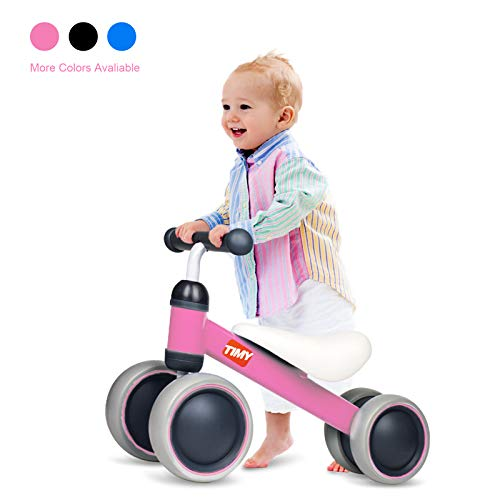 Timy Baby Balance Bike for 1 Year Old Kids Riding Toys for 10-24 Months Toddler No Pedal 4 Wheels Boy Girl First Birthday Gift (Pink)