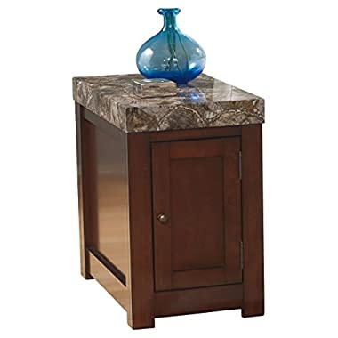 Ashley Furniture Signature Design - Kraleene Chairside End Table - 1 Cabinet with 2 Shelves - Faux Marble Top - Dark Brown