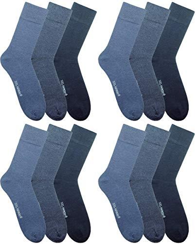 RS. Harmony | Socken und Strümpfe für Herren | Übergröße Softrand Komfort | 12 Paar | hell-, mittel-, dunkeljeans | 47-50