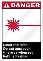 安全標識、赤色の光が点滅しているとき、レーザーテストエリアはこのエリアに近づかないでください危険サイン、金属ティンサインカフェキッチン家の壁の装飾バーパブプラークポスター
