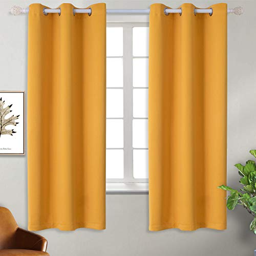 BGment Blackout Curtains for Kids Bedroom - Grommet Thermal Insulated Room Darkening Curtains for Nursery, Set of 2 Panels (42 x 63 Inch, Mustard Yellow)