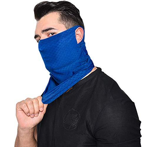 Ear Hangers UV Protection Neck Gaiter Mask, Unisex Summer Face Scarf Bandana Balaclava for Fishing Cycling Hiking (Ear Loops-1pcs(Sky Blue))