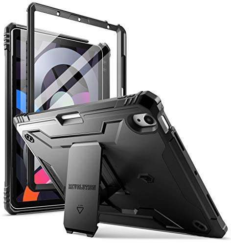POETIC Revolution Series Case for iPad Air 4 2020 10.9 inch, Full-Body Rugged Dual-Layer Shockproof Protective Cover with Kickstand and Built-in-Screen Protector for iPad Air 4th Generation, Black