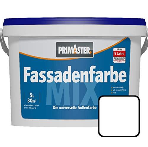 Primaster Fassadenfarbe 5 l Weiß matt ca. 30 m² Wandfarbe Außen