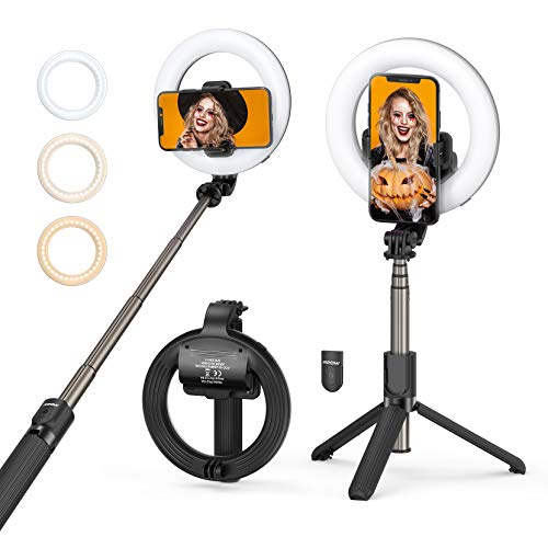 Mpow 10'' LED Ring Light with Tripod Stand, Rechargeable & USB, Dimmable,...