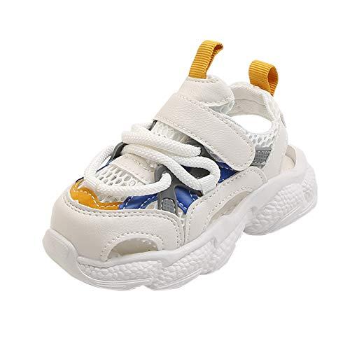 Dinnesis Zapatos de bebé para niños pequeños, niñas, jóvenes, de malla, transpirables, zapatillas deportivas, zapatillas de deporte, zapatillas de deporte de piel suave, azul, 25