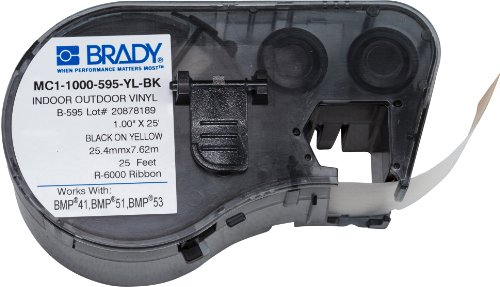 Brady - 131583 Official (MC1-1000-595-YL-BK) Indoor/Outdoor Vinyl - Designed for BMP41, BMP51 and BMP53 Printers - 1 W x 25 L, Black on Yellow