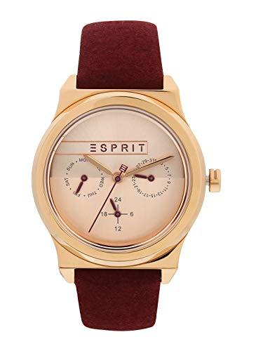 Esprit Damen Multi Zifferblatt Quarz Uhr mit Leder Armband ES1L077L0035