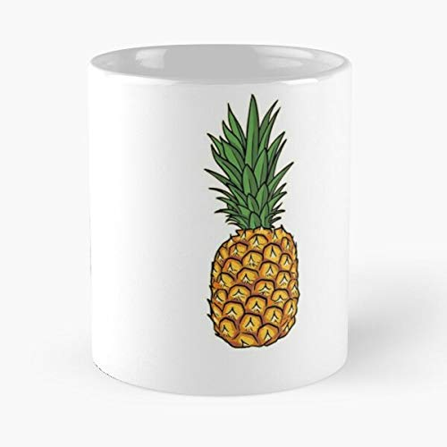 Food Hawaiian Tropical Green Ananas Cool Fruit Yellow I FSGnovelty- New and trendy design for 11oz White marble ceramic coffee mug I FSGdesign-Best 11 oz Coffee Mug holds hand made from White marble