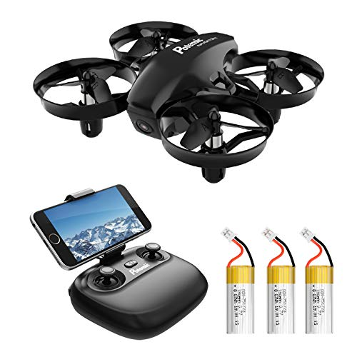 Potensic A20W Drone, Altitude Hold Mode, HD Aerial Camera, WiFi Real Time, Headless Mode, 2.4 GHz, 4CH, 6 Axis Gyro, Multi-Copter, Japanese Instruction Manual Included (English Language Not Guaranteed), Black