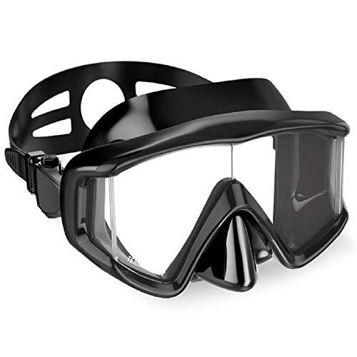 SQDYJ Duikbril, waterdicht en beslaat niet, 180 graden, geschikt voor mannen en vrouwen, volwassenen, duiken met zwemmen, zwart