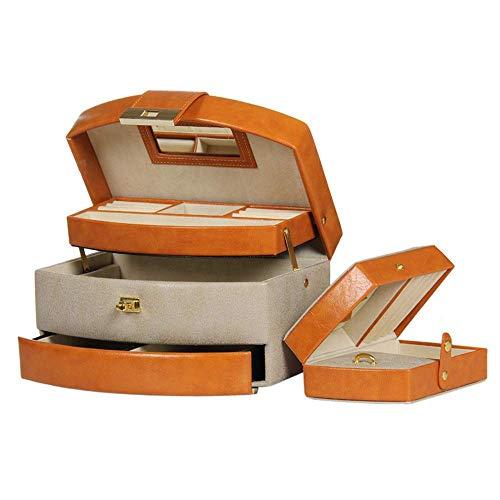 ADSE Caja de Almacenamiento de Joyas Organizador de Caja de joyería Armario de Bloqueo de escaparate Caja de joyería de Cuero Exquisito de Moda Estante de joyería de Viaje Hecho a Mano