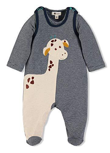 Sterntaler Strampler-Set Kuschelzoo, Niedliches Giraffe Greta-Motiv, Alter: 3-4 Monate, Größe: 56, Blau/Beige