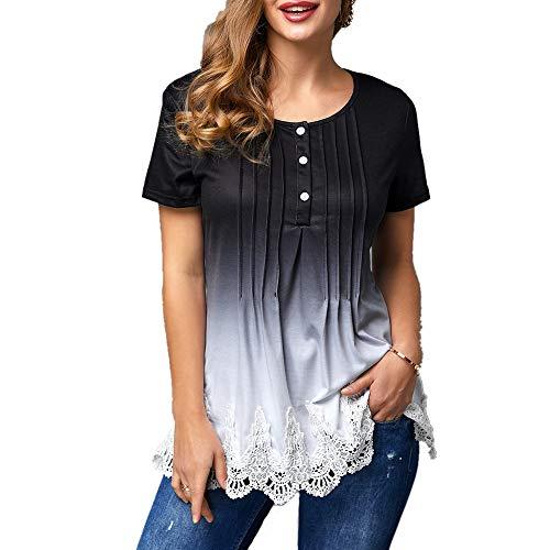 SALEBLOUSE Damen Sommer Kurzarm Tunika T-Shirt Bluse Oberteil mit Knopfleiste Große Größe Rundhals Tops Shirts Oberteile