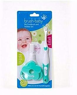 [Brush-Baby ] ブラシ赤ちゃんが私のFirstbrush&おしゃぶりはパックごとに2を設定します - Brush-Baby My FirstBrush & Teether Set 2 per pack [並行輸入品]