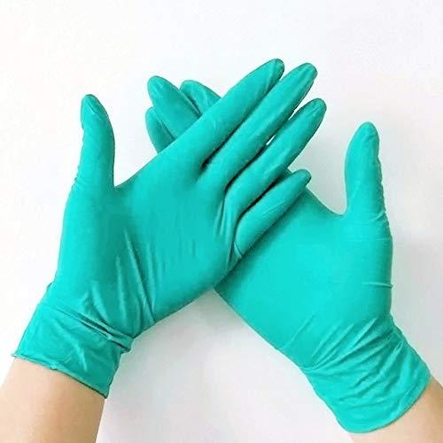 HLOEC Wegwerphandschoenen - 100 stuks wegwerp rubberen latex handschoenen, 6-kleuren voedsel en drank dikkere duurzame huishoudelijke schoonmaak handschoenen experimentele handschoenen, aloë groen 1
